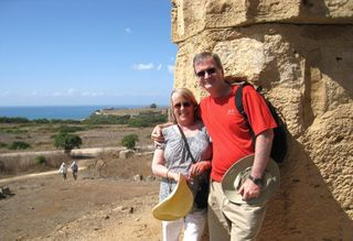Mike and Nancy at temples at Selinunte - south coast of Sicilila