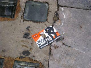 Addio Pizzo Sticker on Sidewalk - Palermo